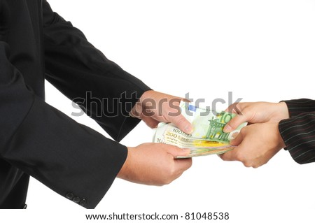 Euro-banknotes are paid - stock photo