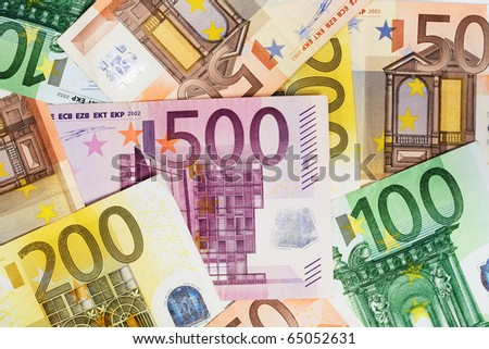 Euro banknotes as a background, close-up - stock photo