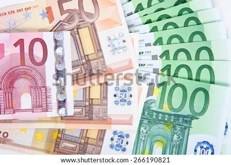 Euro banknotes background. - stock photo