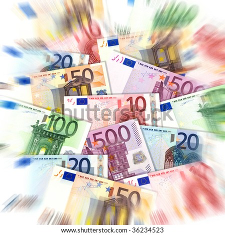 euro banknotes, background with zoom effect - stock photo