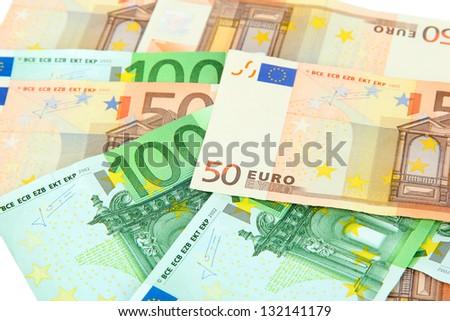 Euro banknotes close-up - stock photo