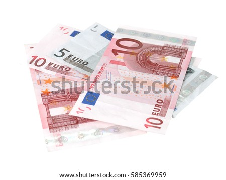 Euro banknotes closeup on white background