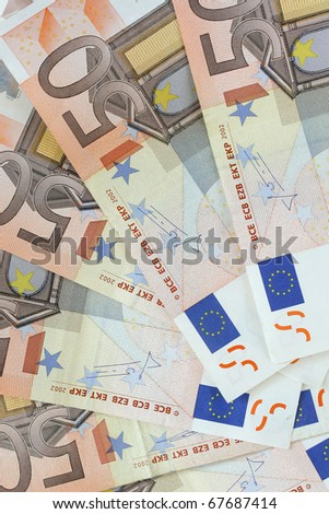 Euro banknotes (currency of the European Union) - selective focus - stock photo