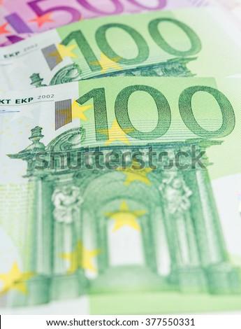 Euro banknotes. 500 euro banknotes and 100 euro banknotes.  - stock photo