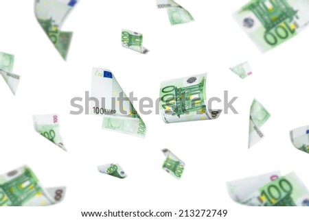 Euro banknotes falling down, isolated on white background. - stock photo
