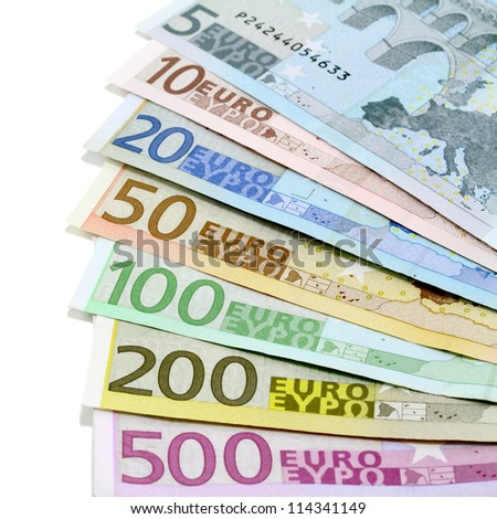 Euro banknotes. Five to five hundred - stock photo
