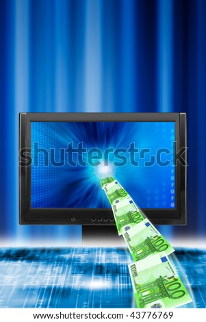 euro banknotes flying from a monitor, concept for internet money transfer - stock photo
