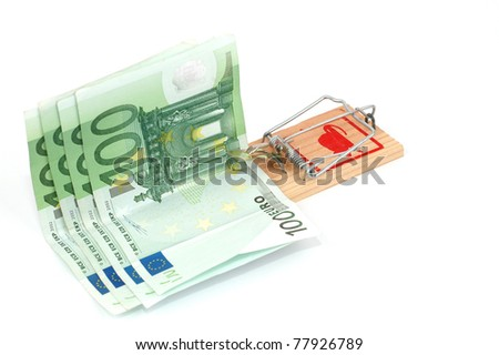 Euro banknotes in a mousetrap, business risk concept, money concept - stock photo