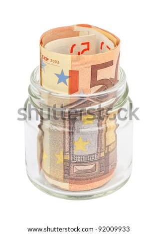 Euro banknotes in a small jar. Isolated on a white background with paths. - stock photo