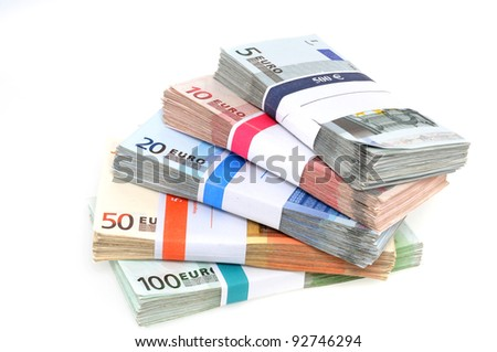 Euro-Banknotes in a studio shot - stock photo
