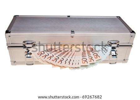 Euro banknotes in metal safe box over white background. - stock photo