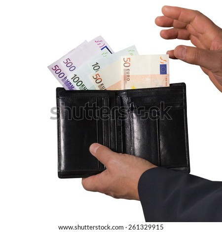 Euro banknotes in the black wallet isolated on white background. Man holding wallet with money.