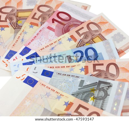 Euro banknotes isolated on a white background