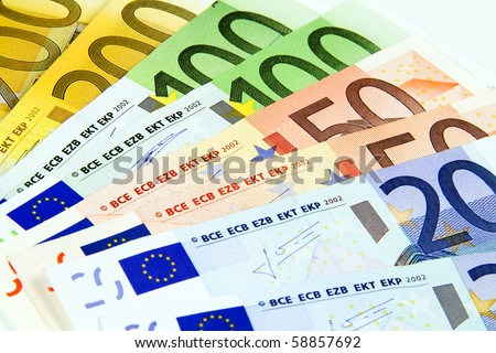 Euro banknotes isolated on a white background. - stock photo