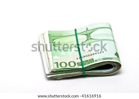 Euro banknotes isolated on white - stock photo