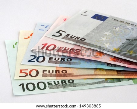 Euro banknotes isolated on white background - stock photo