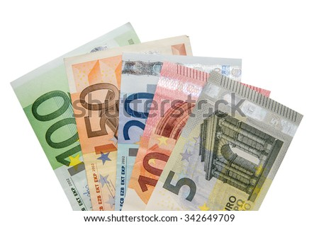 Euro banknotes isolated on white background - stock photo