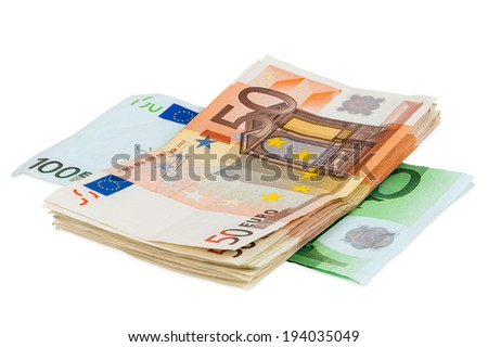 Euro banknotes isolated on white background with clipping path - stock photo
