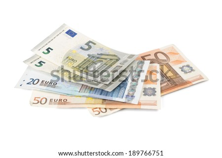 Euro banknotes isolated over white with clipping path. - stock photo