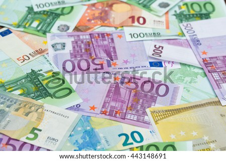 Euro banknotes, money background - stock photo