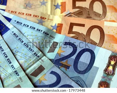 Euro banknotes money european currency - stock photo