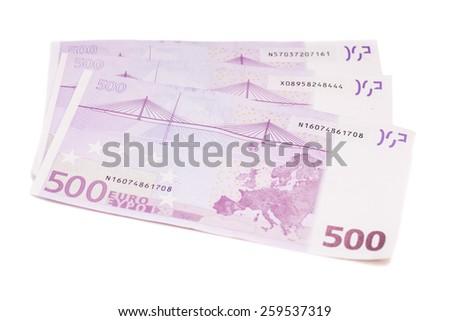 Euro banknotes money European currency including 500 euros - stock photo