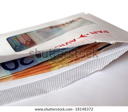 Euro banknotes money in an envelope