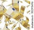 Euro banknotes money isolated on white - stock
