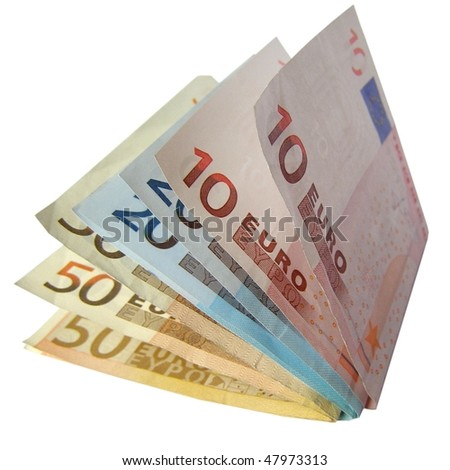 Euro banknotes money isolated over white background - stock photo