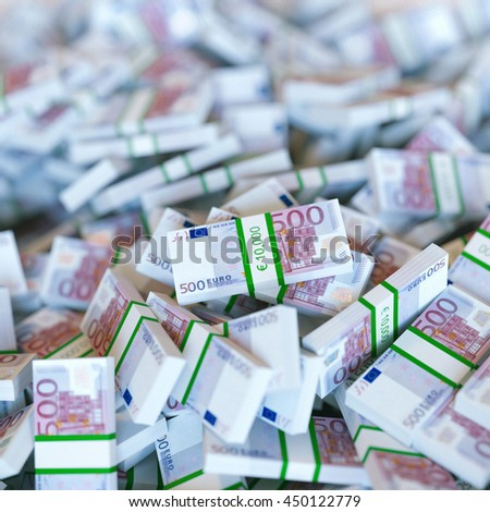 Euro banknotes motivation background. Close up. 3d render - stock photo