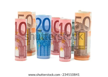 Euro banknotes of different value - stock photo