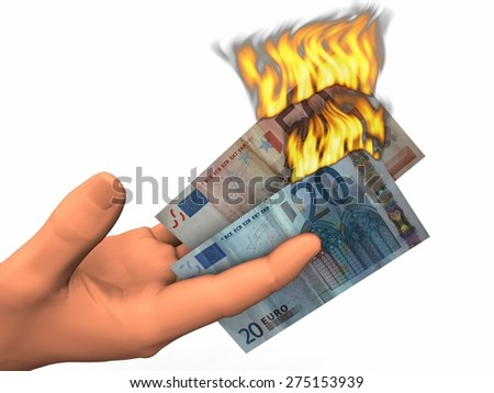 euro  banknotes of soaring - stock photo