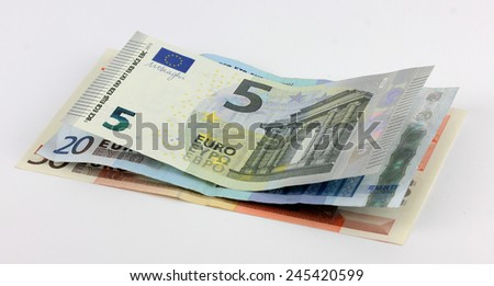 Euro banknotes on a gray background   - stock photo