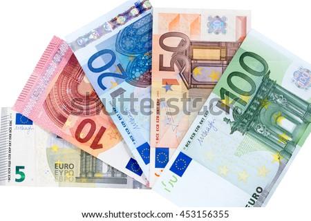 Euro banknotes on isolated background - stock photo