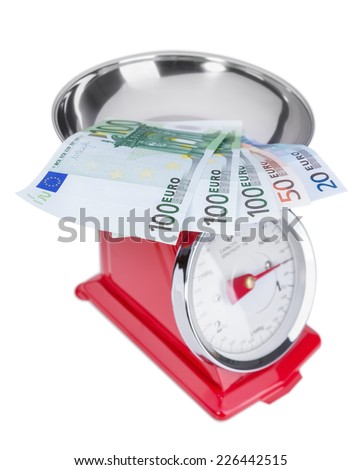 Euro banknotes on the scales. Inflation euros. - stock photo