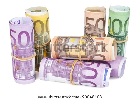Euro banknotes rolled up on white background. CLIPPING PATH INCLUDED. - stock photo