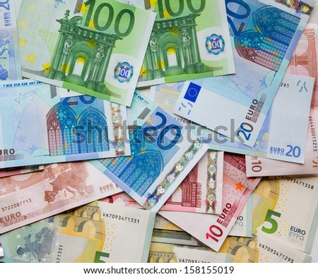 euro banknotes, the background - stock photo