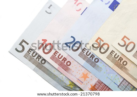 Euro banknotes tiled over white background