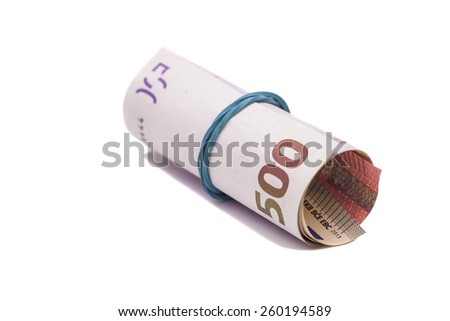 euro banknotes under rubber band isolated - stock photo