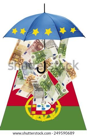 Euro banknotes under umbrella with portuguese flag - stock photo