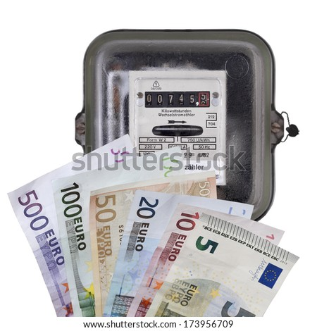 euro banknotes with electric meter isolated on white. - stock photo