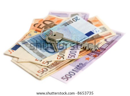 euro banknotes with keys