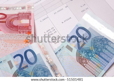 Euro banknotes with payroll at the end of the month