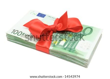 Euro Banknotes with Ribbon - stock photo
