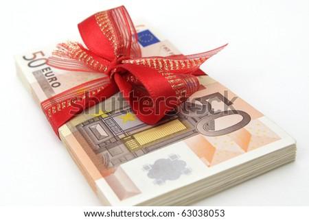 Euro Banknotes with Ribbon on white background - stock photo