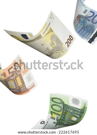 Euro bill collage isolated on white. Vertical format