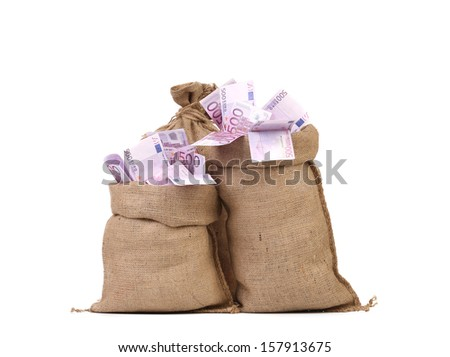 Euro bill in big sacks. Isolated on a white background. - stock photo