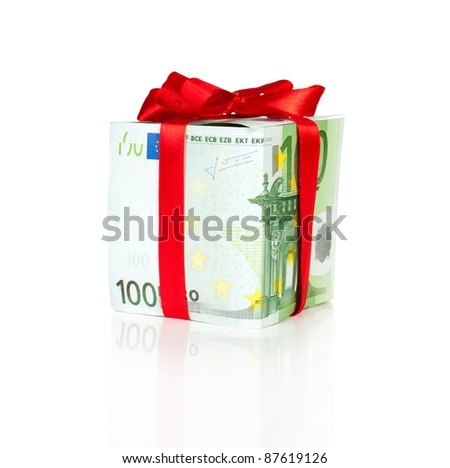 euro bill packed as a gift with ribbon and reflection - stock photo