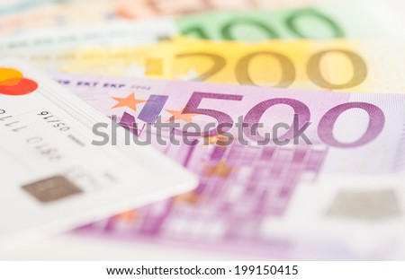 Euro bills and credit card background - stock photo