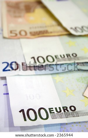 Euro bills close up